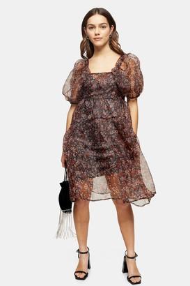 Topshop Womens Petite Fallen Floral Print Organza Tiered Dress - Multi