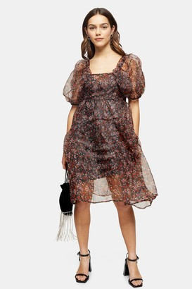 Topshop Womens Petite Fallen Floral Print Organza Tiered Dress - Multi