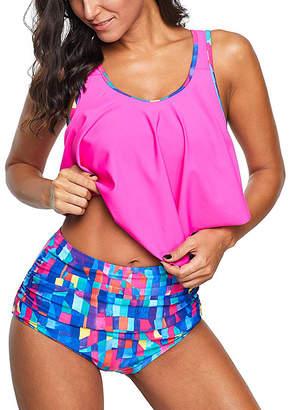 Zesica Women's Bikini Bottoms Rose - Rose & Blue Abstract Crop Ruffled Overlay High-Waist Tankini - Women