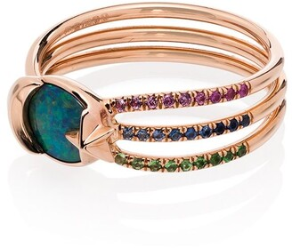 Bibi Van Der Velden Pink 18kt Gold Shooting Star Diamond And Sapphire Ring