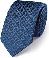 Charles Tyrwhitt Navy and grey silk luxury English triangle slim tie
