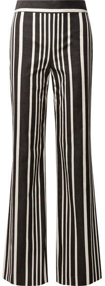 Alice + Olivia Alice Olivia - Johanna Striped Cotton-blend Wide-leg Pants - Black