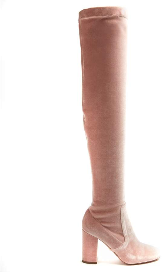 Aquazzura So Me 95 over-the-knee velvet boots