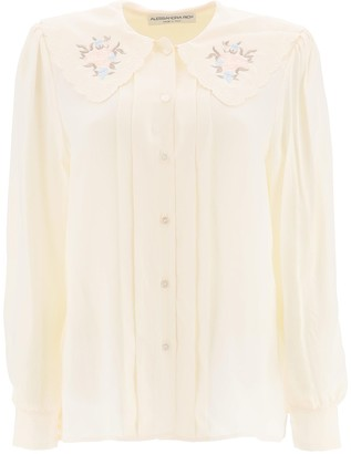 Alessandra Rich Silk Shirt With Embroidered Collar