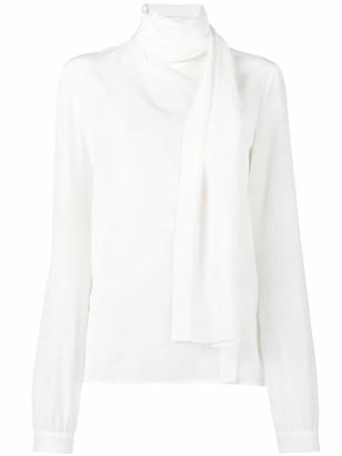 Saint Laurent Long Sleeve Scarf Blouse