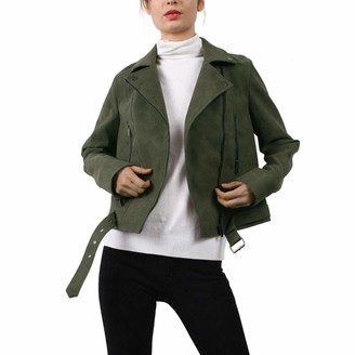 CGTL PU Leather Moto Jacket Womens Girls Long Sleeve Belt Punk Bomber Suede Fashion Sport Dress Slant Zipper Jacket Mothers Gift