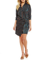 J.o.a. Striped Tie-Waist Wrap Shirt Dress