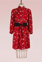 Marc Jacobs Painted Flower Silk Jacquard Shirt Dress with Belt