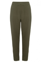 Quiz Curve Khaki Crepe Tapered Trousers