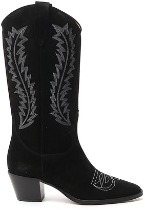 Paris Texas Embroidered Block Heel Boots
