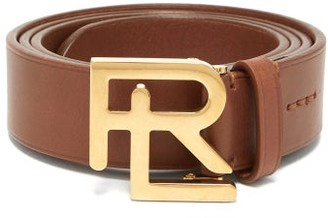 Ralph Lauren Purple Label Monogram-buckle Leather Belt - Tan