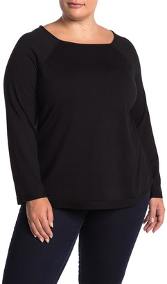 Cyrus Long Sleeve Step Hem Pullover Sweater (Plus Size)