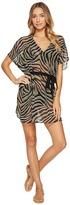 MICHAEL Michael Kors Quincy Zebra Belted Caftan Cover-Up Women's Swimwear