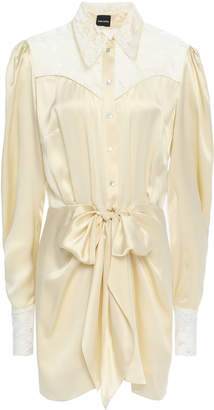 Magda Butrym Hebei Lace-paneled Tie-front Silk-satin Mini Dress