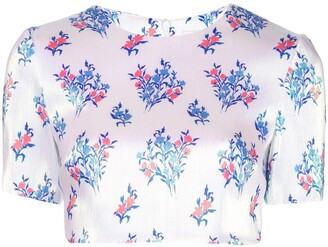 Area cropped floral print T-shirt