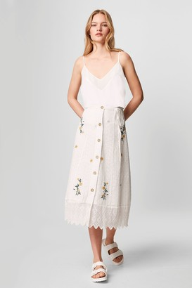 French Connenction Eka Embroidered Button Front Skirt