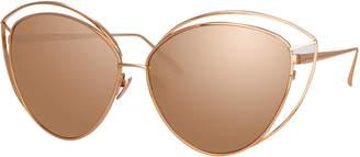 Linda Farrow Open-Inset Cat-Eye Mirrored Sunglasses, Red Pattern