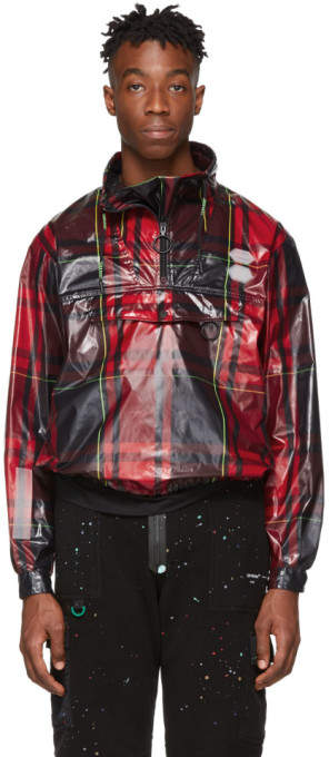 Off-White Red Checked Anorak Jacket
