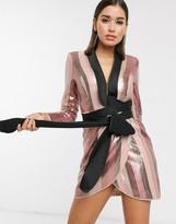 Asos Design DESIGN tux mini dress in pink stripe sequin embellishment