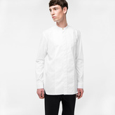 Paul Smith Men's White Cotton Band-Collar Shirt With Satin Frogging
