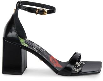 Versace Leather Block Heel Ankle-Strap Sandals