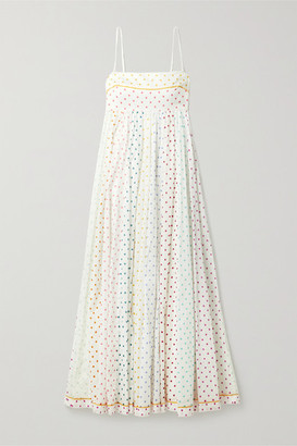 Zimmermann Bellitude Polka-dot Cotton-voile Maxi Dress