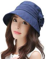 Siggi Ladies SPF50+ Linen/Cotton Summer Sun Bucket Packable Foldable Wide Brim Hats w/ Chin Strap Navy