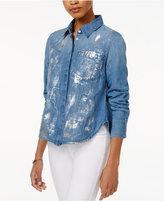 Rachel Roy Split-Back Metallic-Detail Shirt, Only at Macy's