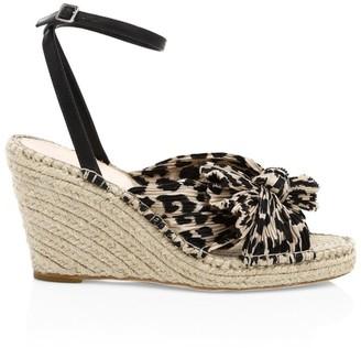 Loeffler Randall Charley Knotted Leopard-Print Espadrille Wedge Sandals