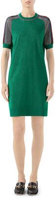 Gucci Short-Sleeve Shimmer Wool Track Dress