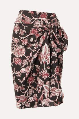 Isabel Marant Lazalea Floral-print Cotton-voile Mini Pareo - Black