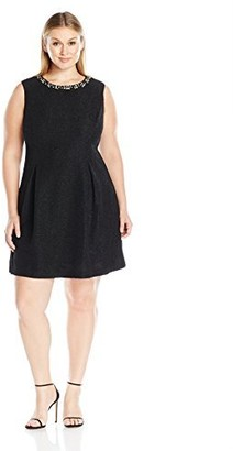 Jessica Howard JessicaHoward Women's Plus Size Sleeveless A-line Pleat Dress