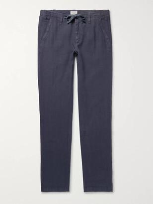 Hartford Troy Slim-Fit Linen-Chambray Drawstring Trousers - Men - Blue