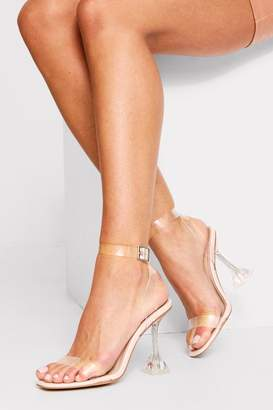 boohoo clear strappy flared heeled sandals