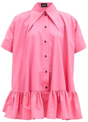 Elzinga - Exaggerated-collar Poplin Mini Dress - Pink