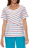 Alfred Dunner Tropical Vibe Short Sleeve Spliced Stripe T-Shirt