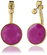 "Trina Turk Retro Sport"" 2 Part Stone Drop Gold Pink Drop Earrings"