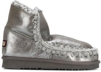 Mou Whip-Stitch Metallic Boots