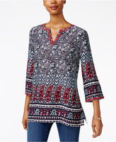 Charter Club Paisley-Print Split-Neck Tunic, Only at Macy's