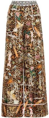 Camilla Printed wide-leg silk pants