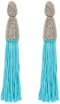 Oscar de la Renta Aquamarine Silk Tassel & Chain Earrings