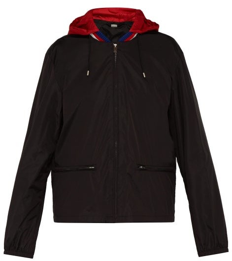 Gucci Detachable Hood Windbreaker Jacket - Mens - Black