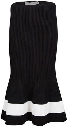 Victoria Beckham Black Contrast Stripe Detail Rib Knit Fluted Midi Skirt S