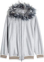 Brunello Cucinelli Cotton Hoody with Feather-Trimmed Hood