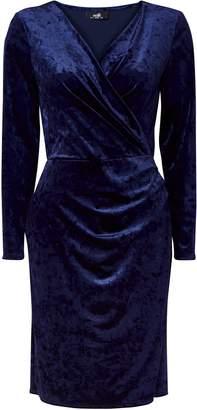 Wallis Navy Velvet Wrap Dress