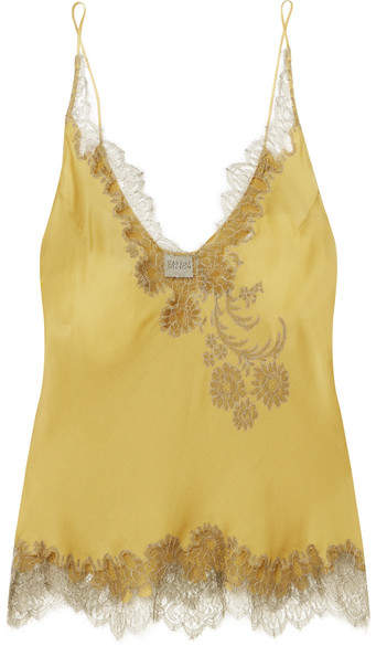 Carine Gilson Chantilly Lace-trimmed Silk-satin Camisole - Mustard