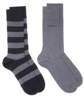 BOSS New Mens Black 2 Pack Design Cotton/Polyamide Socks