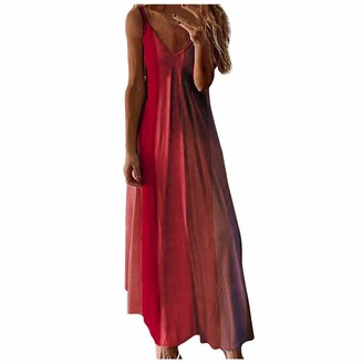 ReooLy Women's Boho Gradient Print Sleeveless Dress Sexy V-Neck Camisole Suspender Maxi Dress(Red X-Large)