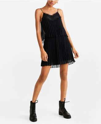 MANGO Lace Pleated Dress