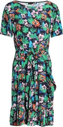 Love Moschino Tie-front Printed Crepe Mini Dress
